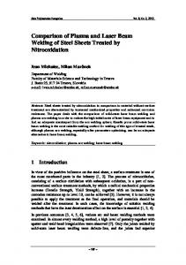 Comparison of Plasma and Laser Beam Welding of Steel Sheets Treated by Nitrooxidation