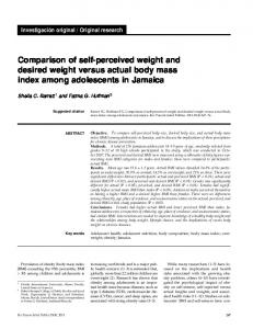 Comparison of self-perceived weight and desired weight versus actual body mass index among adolescents in Jamaica