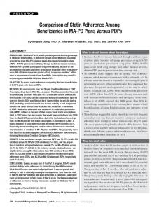 Comparison of Statin Adherence Among Beneficiaries in MA-PD Plans Versus PDPs
