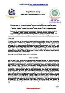 Comparison of three methods of plyometric training on muscles power