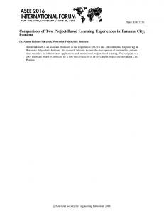 Comparison of Two Project-Based Learning Experiences in Panama City, Panama