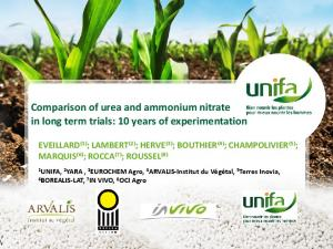 Comparison of urea and ammonium nitrate in long term trials: 10 years of experimentation