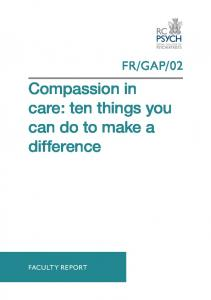 Compassion in care: ten things you can do to make a difference