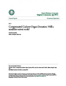 Compensated Cadaver Organ Donation: Will a small fee waiver work?