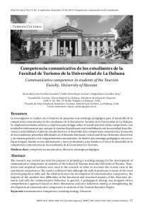 Competencia comunicativa de los estudiantes de la Facultad de Turismo de la Universidad de La Habana
