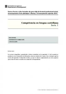 Competencia en lengua castellana Serie 1