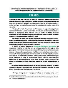 COMPETENCIAS, APRENDIZAJES ESPERADOS Y PROPUESTAS DE TRABAJO DE LAS ASIGNATURAS CONTENIDAS EN LOS PROGRAMAS DE ESTUDIO