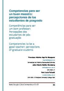 Competencias para ser un buen maestro: percepciones de los estudiantes de posgrado