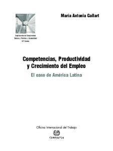 Competencias, Productividad y Crecimiento del Empleo