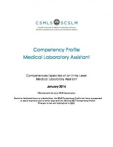 Competency Profile Medical Laboratory Assistant
