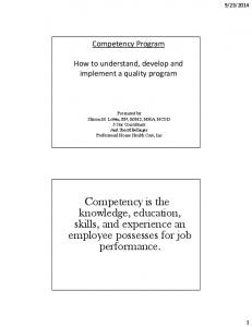 Competency Program. How to understand, develop and