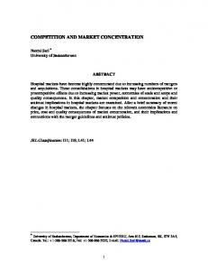 COMPETITION AND MARKET CONCENTRATION