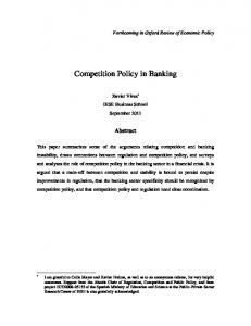 Competition Policy in Banking