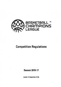 Competition Regulations. Season (version 16 September 2016)