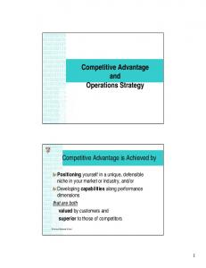 Competitive Advantage and Operations Strategy
