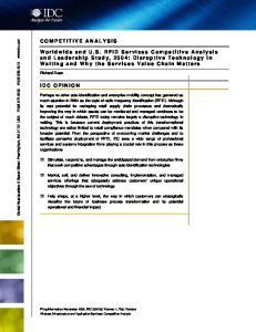 COMPETITIVE ANALYSIS IDC OPINION. Richard Dean