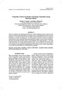 Competitive Anxiety Level before and during Competition among Malaysian Athletes