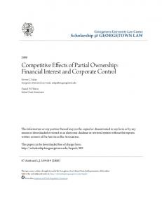 Competitive Effects of Partial Ownership: Financial Interest and Corporate Control