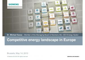 Competitive energy landscape in Europe