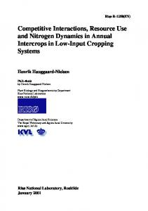 Competitive Interactions, Resource Use and Nitrogen Dynamics in Annual Intercrops in Low-Input Cropping Systems