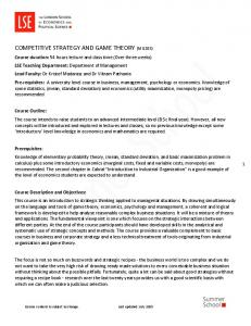 COMPETITIVE STRATEGY AND GAME THEORY (MG205)