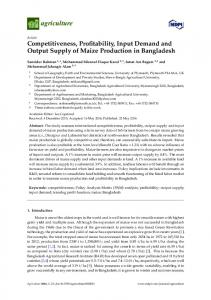 Competitiveness, Profitability, Input Demand and Output Supply of Maize Production in Bangladesh