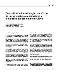 Competitividad y estrategia: el enfoque de las competencias esenciales y el enfoque basado en los recursos