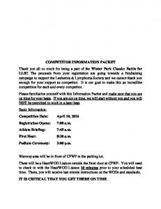 COMPETITOR INFORMATION PACKET