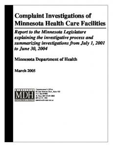Complaint Investigations of Minnesota Health Care Facilities