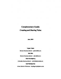 Complementary Goods: Creating and Sharing Value