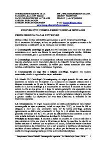 COMPLEMENTO TEORICO. CROMATOGRAFIAS ESPECIALES