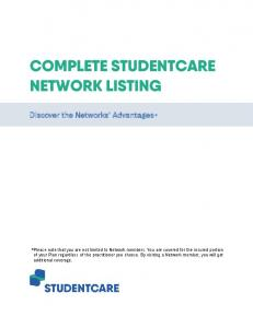 COMPLETE STUDENTCARE NETWORK LISTING
