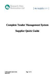 Complete Tender Management System. Supplier Quick Guide