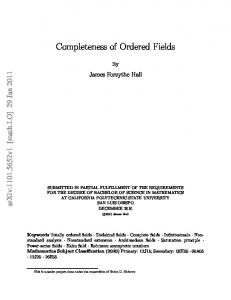Completeness of Ordered Fields