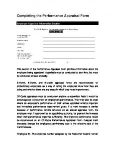 Completing the Performance Appraisal Form