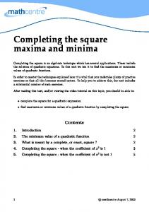 Completing the square maxima and minima