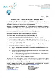 COMPLETION OF CAPITAL RAISING AND CLEANSING NOTICE