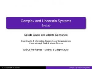 Complex and Uncertain Systems