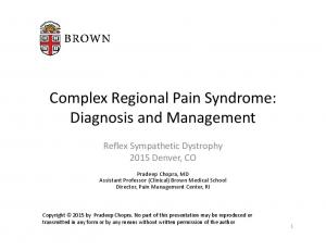 Complex Regional Pain Syndrome: Diagnosis and Management