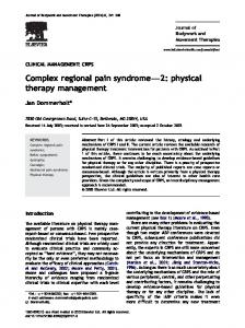 Complex regional pain syndromef2: physical therapy management