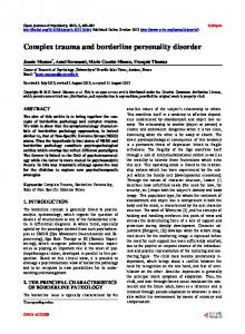 Complex trauma and borderline personality disorder