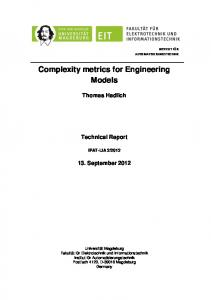 Complexity metrics for Engineering Models