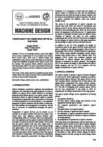 COMPLEXITY OF DESIGNING OPTICAL SYSTEMS