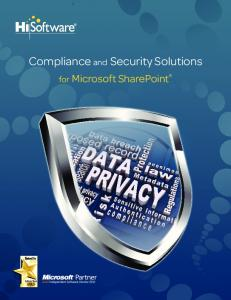 Compliance and Security Solutions. for Microsoft SharePoint