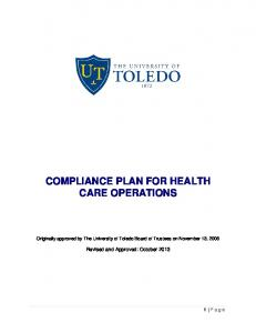 COMPLIANCE PLAN FOR HEALTH CARE OPERATIONS