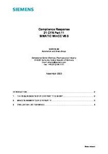 Compliance Response 21 CFR Part 11 SIMATIC WinCC V6.0