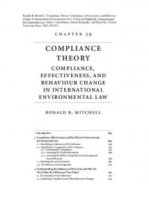 COMPLIANCE THEORY COMPLIANCE, EFFECTIVENESS, AND BEHAVIOUR CHANGE IN INTERNATIONAL ENVIRONMENTAL LAW. 1 Introduction 894