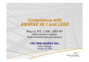 Compliance with. Senior Research Engineer Pacific Northwest National Laboratory. CRC 2008 ASHRAE RAL Lisbon, Portugal October 15, 2008