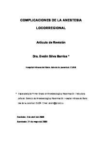 COMPLICACIONES DE LA ANESTESIA LOCORREGIONAL