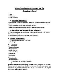 Complicaciones generales de la Anestesia local
